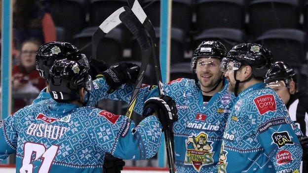 Celebration time for the Giants after Dustin Johner nets in Saturda night's win over Manchester