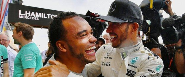 Nicholas and Lewis Hamilton