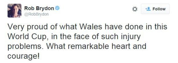 Rob Brydon tweet