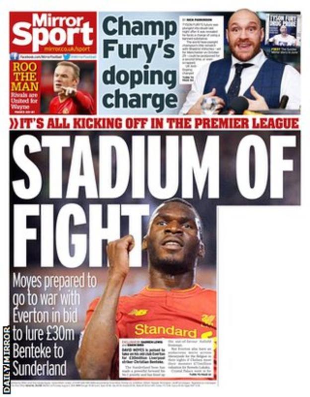 Thursday's Daily Mirror