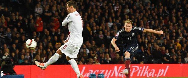 Matt Ritchie scores for Scotland against Poland