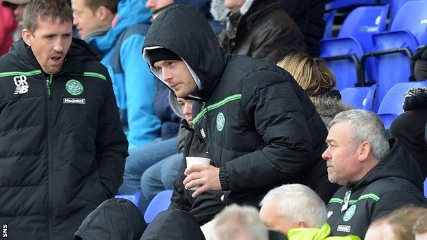 Celtic's Anthony Stokes takes his seat at Caledonian Stadium