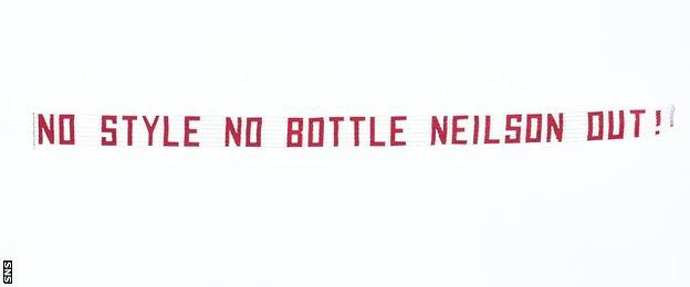 A banner flown over Tynecastle