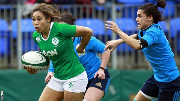 Sene Naoupu makes ground for Ireland during their 14-3 win over Italy at Donnybrook
