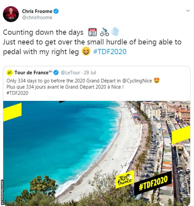 Chris Froome tweeted: