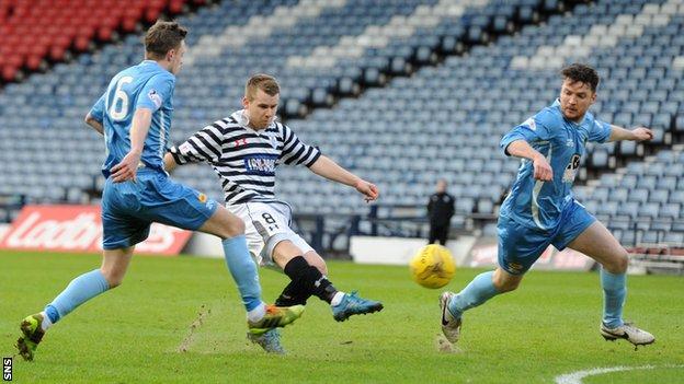 Jamie McKernon has a shot for Queen's Park against Berwick Rangers