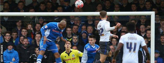 Danny Rose scores for Bury against Rochdale