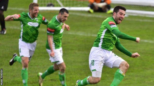 Ross Allen celebrates his late winner for Guernsey FC