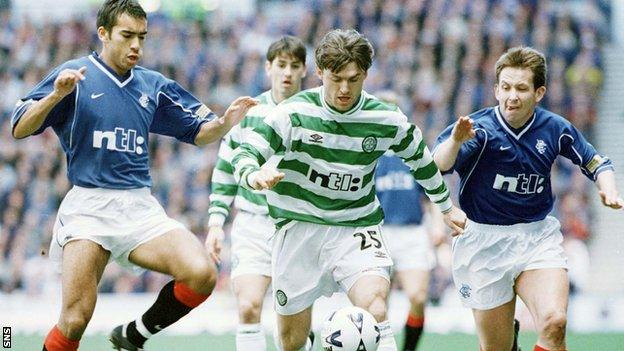 Lubo Moravcik (centre) played in Scotland for Celtic