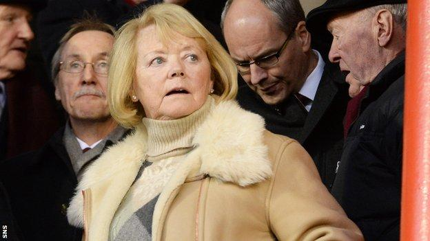 Hearts owner Ann Budge takes her seat at Pittodrie