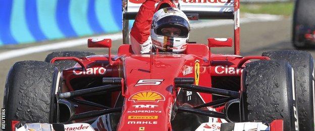 Sebastian Vettel celebrates Hungarian GP win