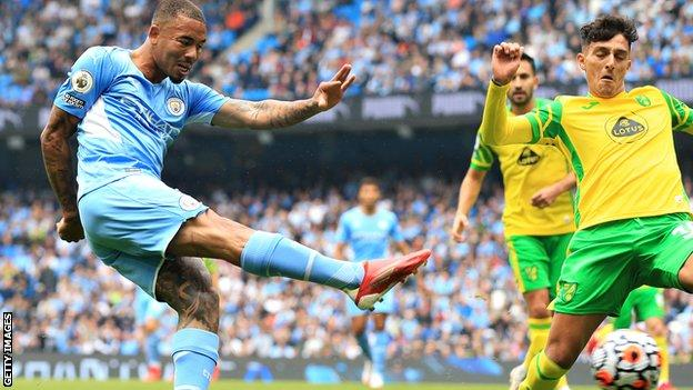 Gabriel Jesus made his first start of the season in Manchester City's big win on Saturday