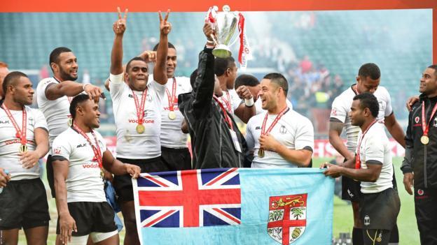 Fiji celebrate retaining their World Sevens title at Twickenham