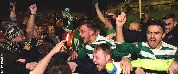 Northwich Victoria celebrate their win over Boreham Wood