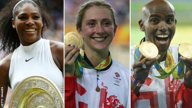 Serena Williams, Laura Trott and Mo Farah