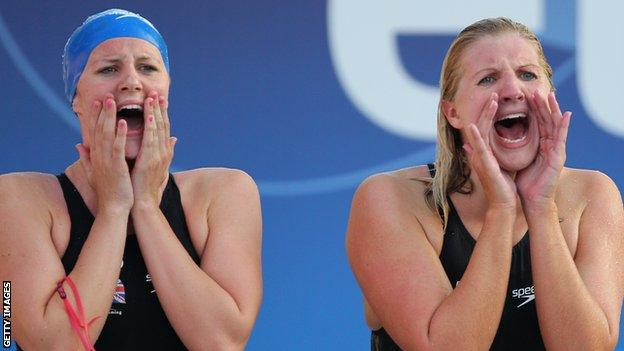 Jazz Carlin (left) and Rebecca Adlington (right) represented Great Britain in the 4x200m at the 2010 European Swimming Championships