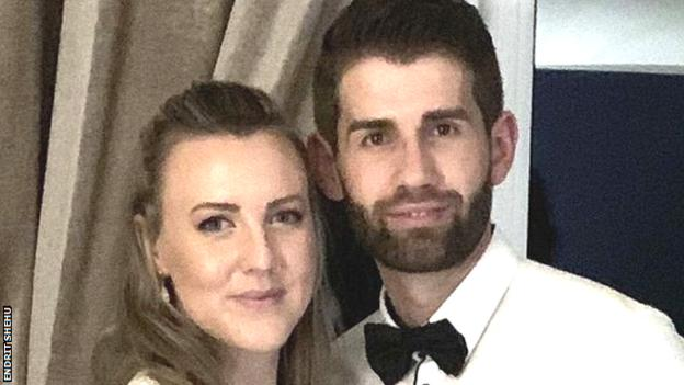 Barnoldwick Town boss Endrit Shehu and his partner Holly Lynch