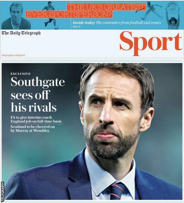 The Daily Telegraph reports Gareth Southgate will get the England manager's job on a full-time basis