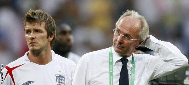 Former England captain David Beckham and former England manager Sven Goran-Eriksson