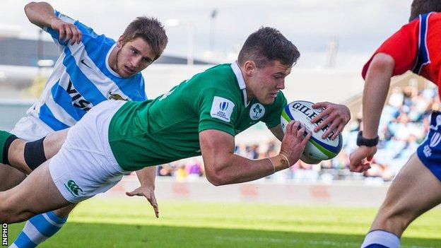 Jacob Stockdale goes over for Ireland's first try against Argentina