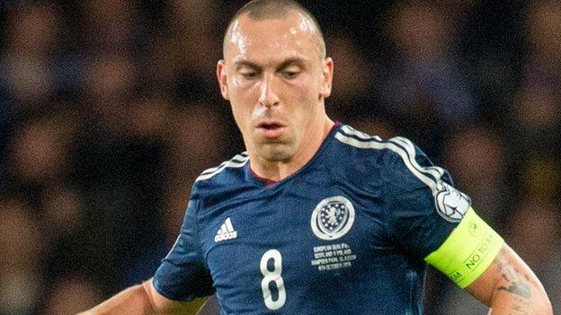 Scott Brown in action for Scotland in their 6-0 Euro 2016 qualifying win in Gibraltar