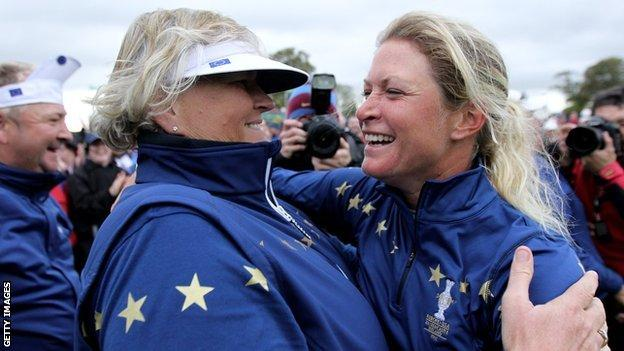 Dame Laura Davies and Suzann Pettersen
