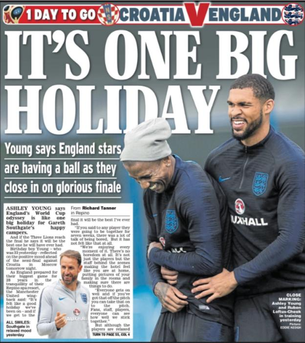 The Express leads on Ashley Young talking up spirit in the England camp