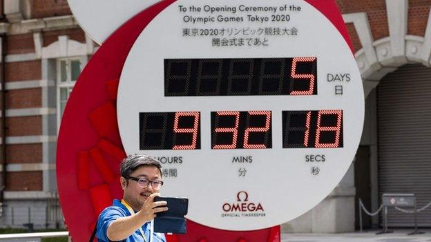 Countdown clock showing five days until the Tokyo 2020 Opening ceremony