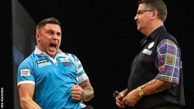Gerwyn Price beat Gary Anderson in the 2018 Grand Slam of Darts final in Wolverhampton