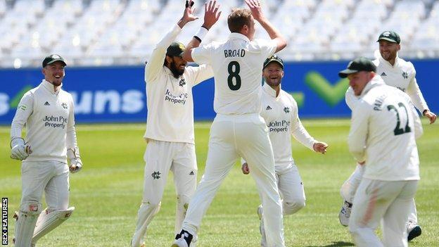 Stuart Broad celebrates a wicket for Nottinghamshire