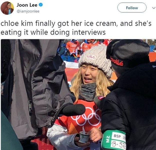 Chloe Kim ice cream tweet