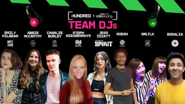 A graphic showing the Team DJs for the Hundred