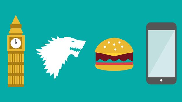 A graphic of Big Ben, a burger, smart phone and Game of Thrones-type wolf's head all relating to the London Marathon