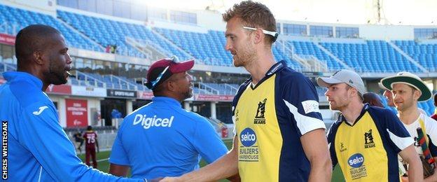 Bears fast bowler Oliver Hannon-Dalby leads the handshakes against their West Indies opponents