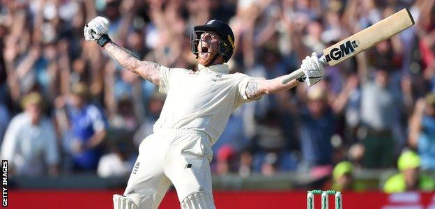 England all-rounder Ben Stokes celebrates after leading his side to a one-wicket win over Australia in the third Ashes Test at Headingley
