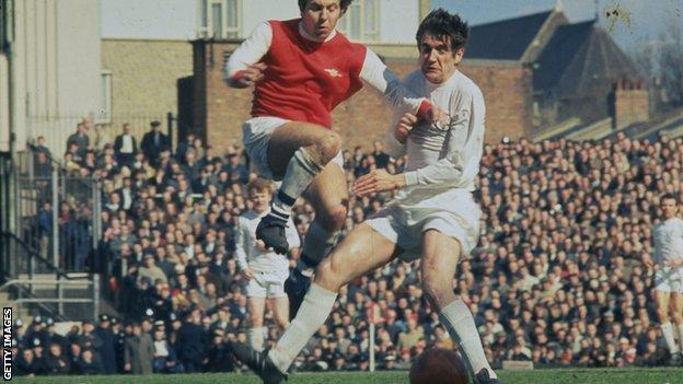 Norman Hunter in action against Arsenal