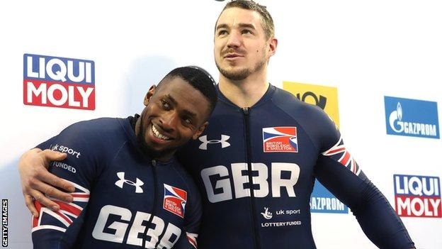 Joel Fearon with GB team-mate Bruce Tasker