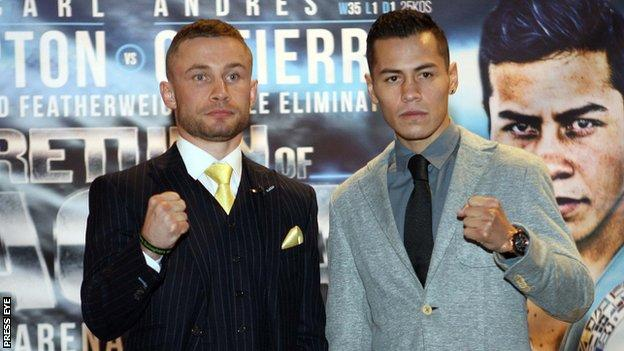 Carl Frampton and Andres Gutierrez at a pre-fight news conference in Belfast on Thursday