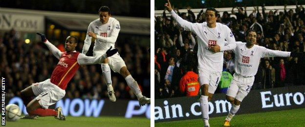 Jermaine Jenas scores Tottenham's first goal in their 5-1 League Cup win over Arsenal in 2008