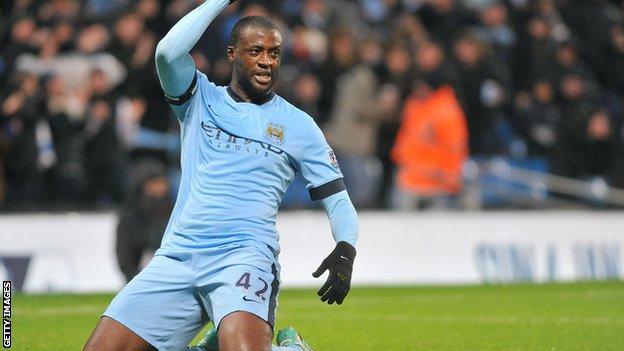 Manchester City's Yaya Toure celebrates scoring
