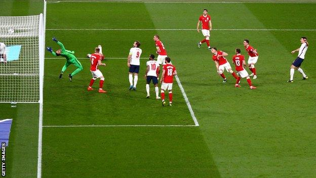 Harry Maguire scores for England