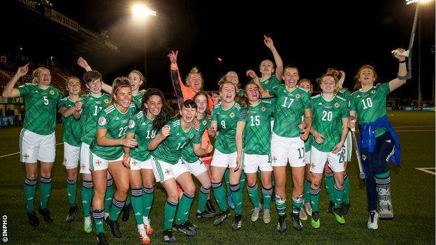Northern Ireland celebrate beating Ukraine