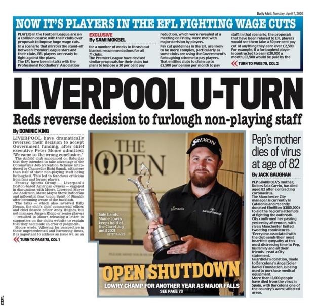The back page of Tuesday's Mail
