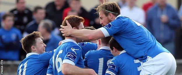 Finn Harps players celebrate after Ryan Curran's 20th-minute goal