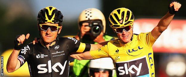 Geraint Thomas (left) with Chris Froome