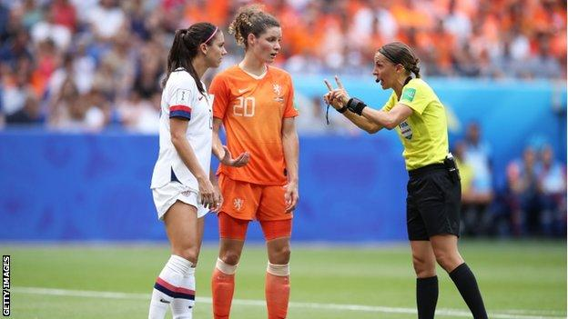 Stephanie Frappart took charge of the Women's World Cup final between USA and the Netherlands on 7 July
