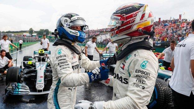 Mercedes F1 drivers Lewis Hamilton and Valteri Bottas