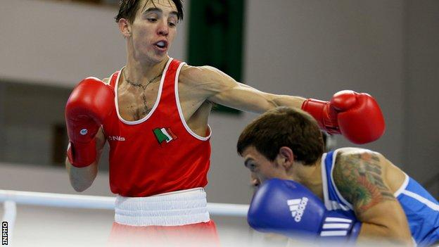 Conlan lands a punch during his semi-final victory
