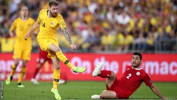 Australia's Martin Boyle scores against Lebanon