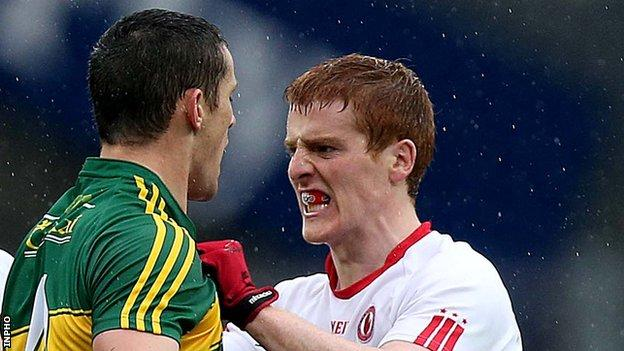 Kerry's Shane Enright and Tyrone's Peter Harte during this year's All-Ireland Football semi-final